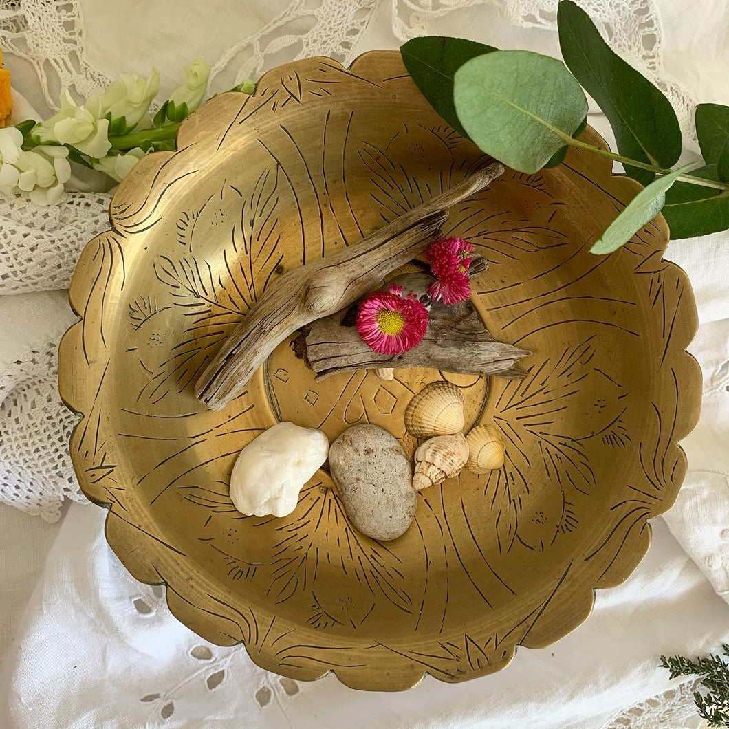 Vintage etched brass treasure bowl