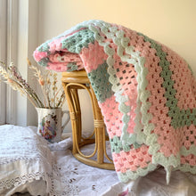 Load image into Gallery viewer, Extra large vintage hand crochet blanket
