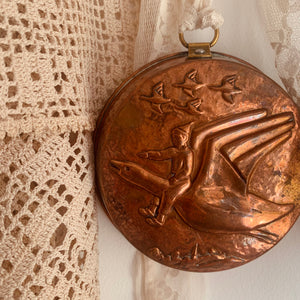 Antique copper mould decor piece (Peter Pan?)
