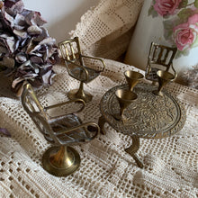 Load image into Gallery viewer, Vintage miniature brass table, chairs & cup set