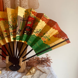 Vintage Japanese double sided paper fan