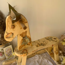 Load image into Gallery viewer, Vintage decoupage handmade rocking horse