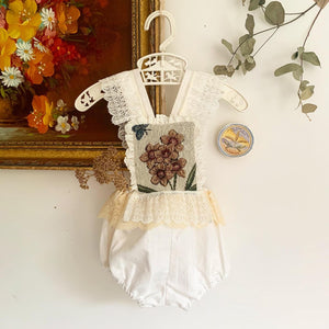 One of a kind vintage textiles romper 6-9 months