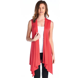 Coral Sleeveless Open Vest