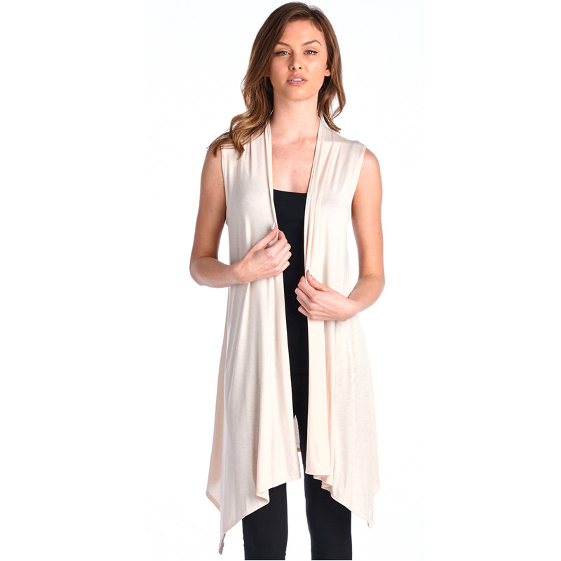 Cream Sleeveless Open Vest