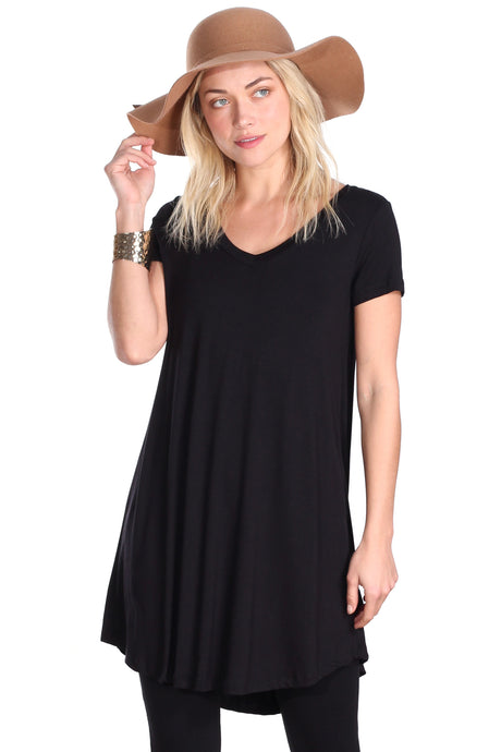 Black Short Sleeve Tunic Top