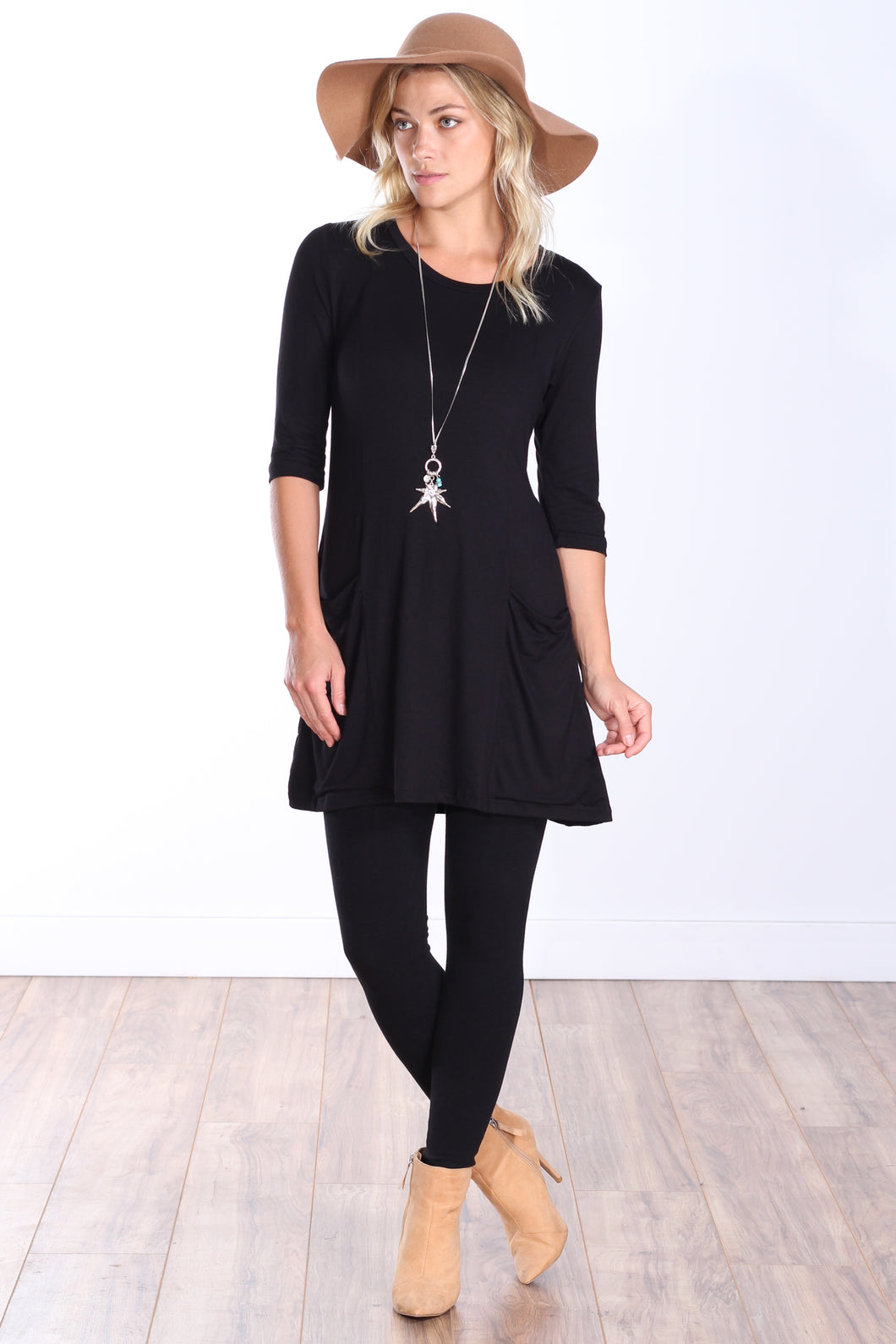 3/4 Sleeve Tunic Pocket Top
