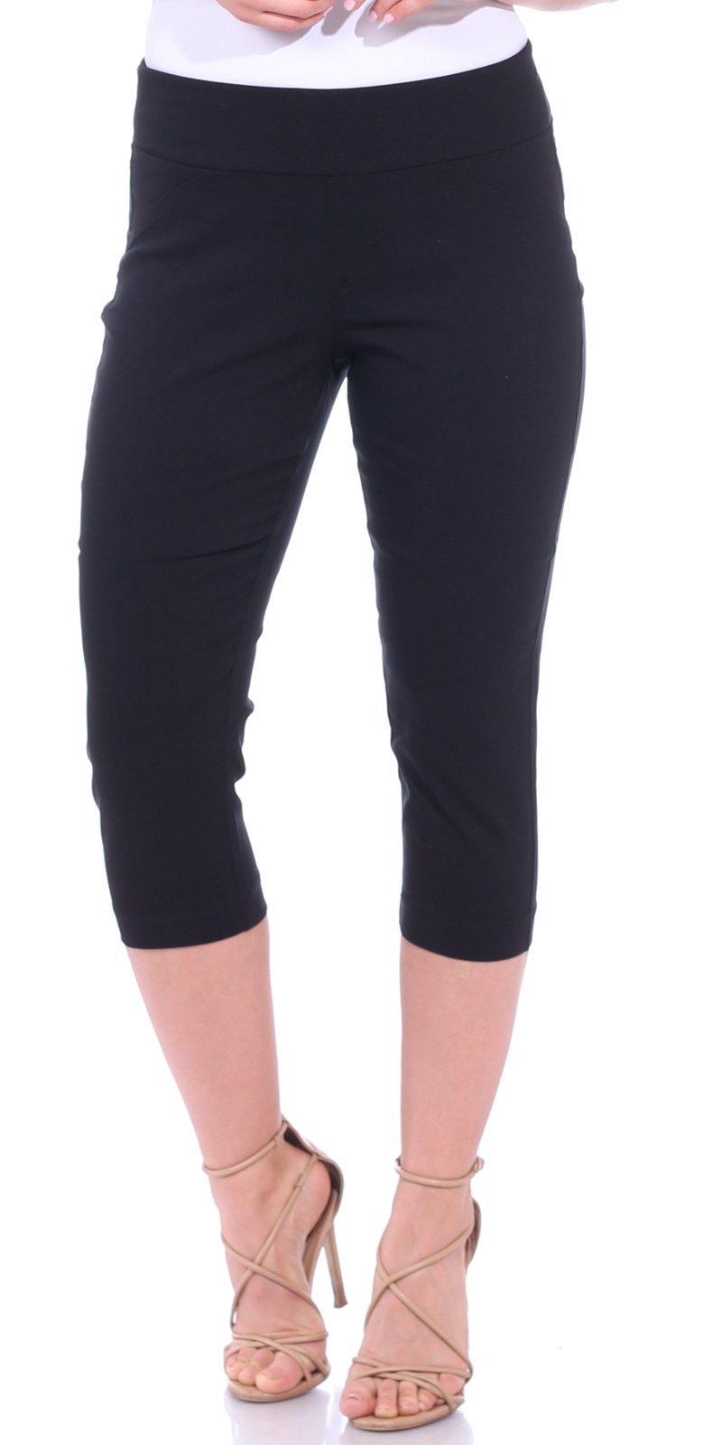Black Pull-on Cropped Trouser Pants