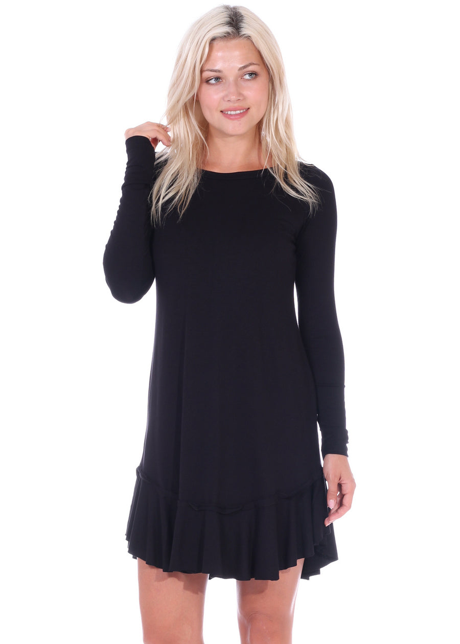 1272a17c978 Long Sleeve Ruffle Hem Dress – Popana