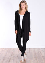 Load image into Gallery viewer, Black Long Sleeve Hooded Cardigan