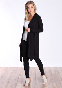 Black Long Sleeve Hooded Cardigan