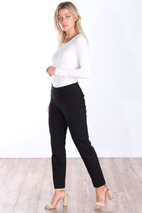 Black Mid Rise Ankle Pull On Pants