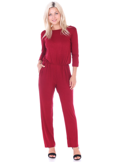 3/4 Sleeve Solid Jumpsuit