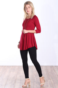 Burgundy Three-Quarter Sleeve Tunic Top