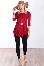 Load image into Gallery viewer, Burgundy Three-Quarter Sleeve Tunic Top
