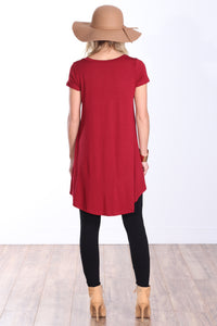 Burgundy Short Sleeve Tunic Top