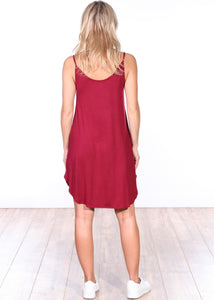 Burgundy Side Slit Sleeveless Dress