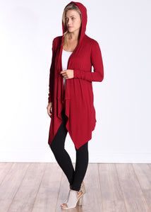 Burgundy Long Sleeve Hooded Cardigan