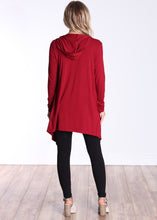 Load image into Gallery viewer, Burgundy Long Sleeve Hooded Cardigan