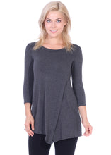 Load image into Gallery viewer, Asymmetrical Hem 3/4 Sleeve Tunic Top