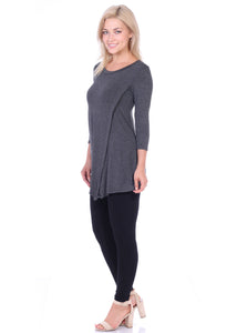 Asymmetrical Hem 3/4 Sleeve Tunic Top