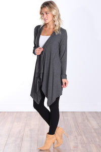 Charcoal Long Sleeve Hooded Cardigan