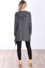 Load image into Gallery viewer, Charcoal Long Sleeve Hooded Cardigan