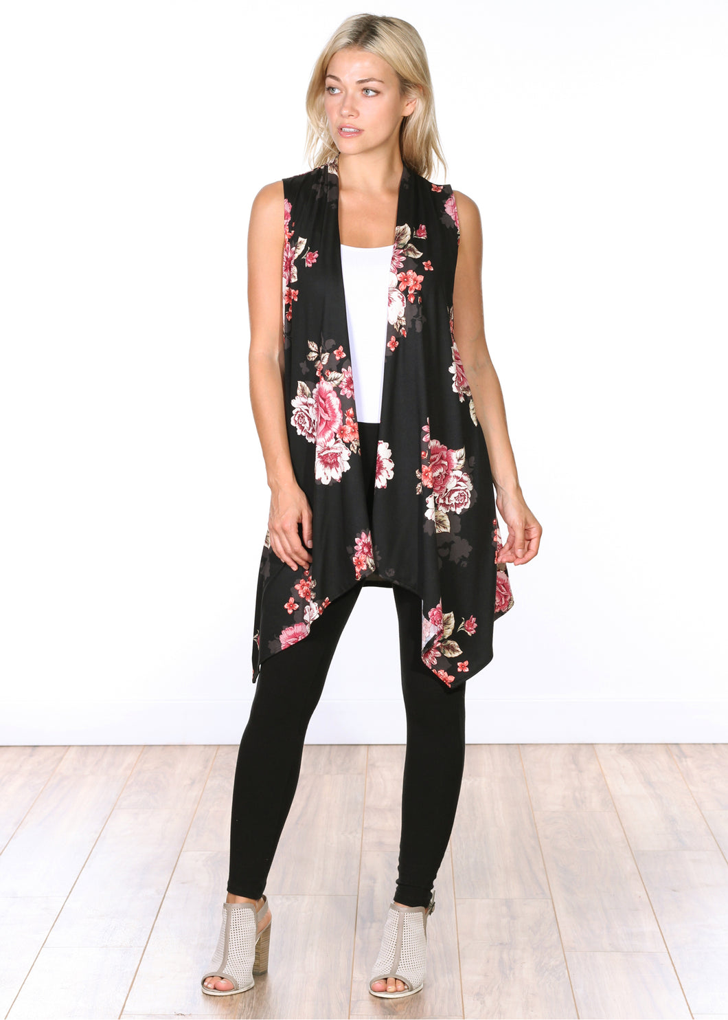 Sleeveless Printed Open Vest