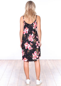 DT13 Side Slit Sleeveless Printed Dress