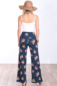 DT33 Fold Over Printed Palazzo Pants