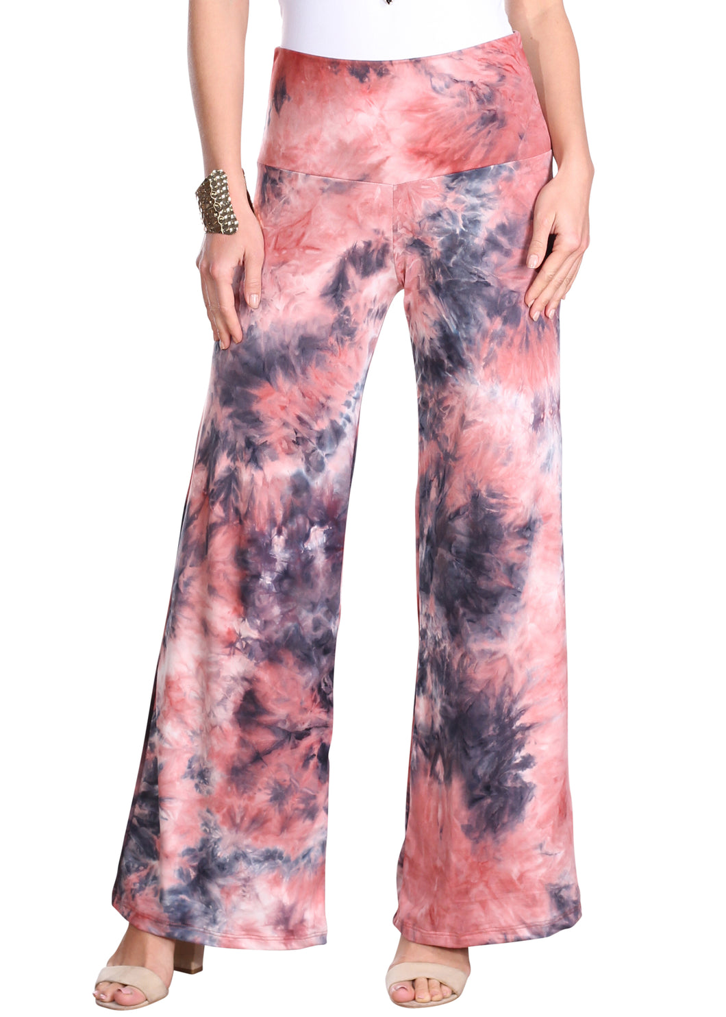 DT37 Fold Over Printed Palazzo Pants