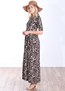 DT43 Printed 3/4 Sleeve Long Maxi Dress