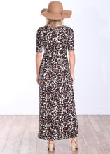 Load image into Gallery viewer, DT43 Printed 3/4 Sleeve Long Maxi Dress