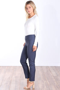 Denim Mid Rise Ankle Pull On Pants