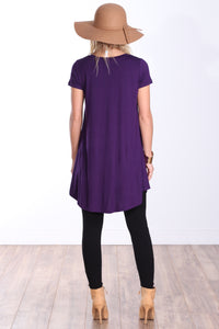 Eggplant Short Sleeve Tunic Top
