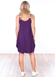 Eggplant Side Slit Sleeveless Dress
