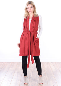 Long Sleeveless Cardigan Sweater with Pockets