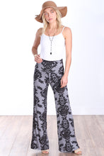 Load image into Gallery viewer, Gray Fold Over Printed Palazzo Pants