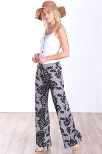 Gray Fold Over Printed Palazzo Pants