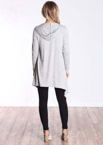 HGray Long Sleeve Hooded Cardigan