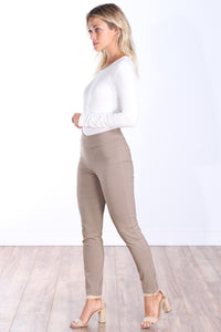 Khaki Mid Rise Ankle Pull On Pants
