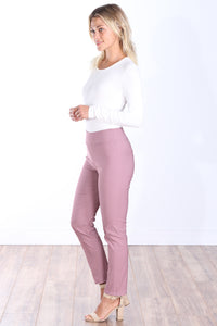 Mauve Mid Rise Ankle Pull On Pants