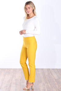 Mustard Mid Rise Ankle Pull On Pants