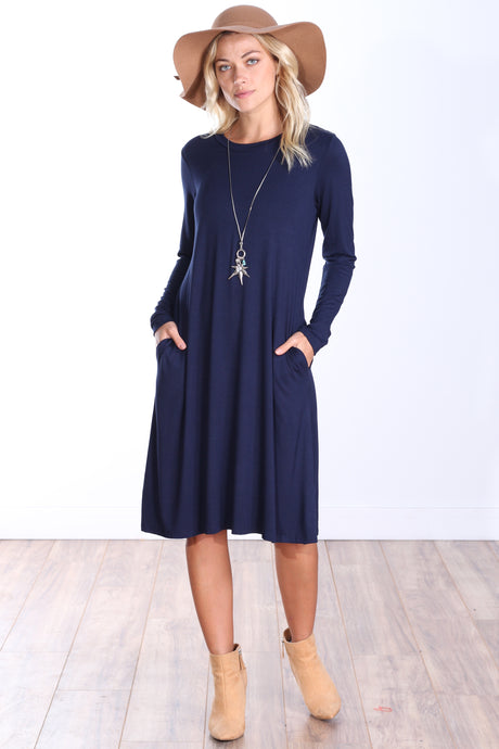 Long Sleeve Pocket Dress