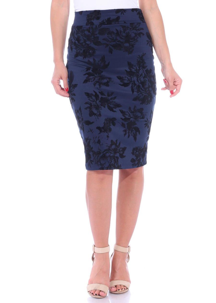 High Waist Floral Pencil Skirt