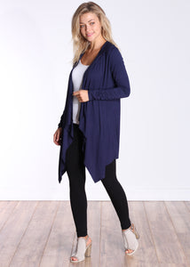 Navy Long Sleeve Hooded Cardigan