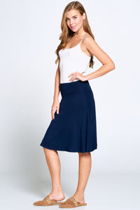 Navy Fold Over Midi Skirt