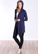 Load image into Gallery viewer, Navy Long Sleeve Hooded Cardigan