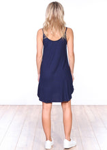 Load image into Gallery viewer, Navy Side Slit Sleeveless Dress