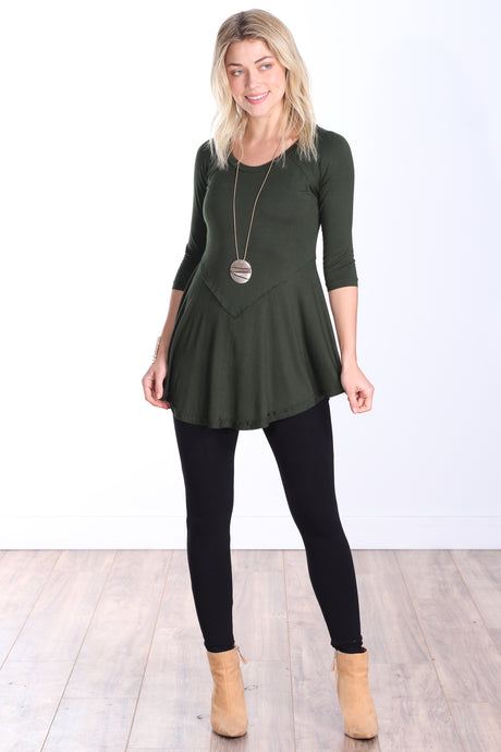 Olive Three-Quarter Sleeve Tunic Top